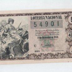 Lotería Nacional: DÉCIMO PARA EL SORTEO DE NAVIDAD DEL 22 DE DICIEMBRE DE 1958.. Lote 129104740