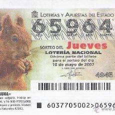 Lotería Nacional: 1 DECIMO DE LOTERIA DEL JUEVES - 10 MAYO 2007 - 37/07 - FAUNA ( ARDILLA ROJA ). Lote 76902019