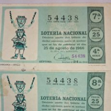 Lotería Nacional: 2 DECIMOS LOTERIA NACIONAL - SORTEO 25 DE AGOSTO. 1966. Lote 49890559