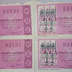 Lotería Nacional: 4 DECIMOS LOTERIA NACIONAL Nº 03131 - SORTEO 25 DE ABRIL 1966 - MOROS Y CRISTIANOS - ALCOY. Lote 49890919