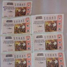 Lotería Nacional: 9 DECIMOS LOTERIA NACIONAL Nº 10445- SORTEO 26 DE MAYO 1972. MURILLO - SANTO TOMÁS. Lote 49891302