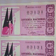 Lotería Nacional: 2 DECIMOS LOTERIA NACIONAL - SORTEO 5 DE ABRIL. 1966. Lote 49891474