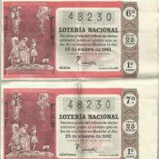 Lotería Nacional: LOTERÍA NACIONAL DE 1961. CUATRO DÉCIMOS EN BLOQUE. Lote 50198324