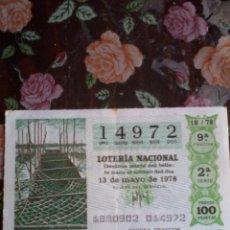Lotería Nacional: DÉCIMO DE LA LOTERÍA NACIONAL. 13 DE MAYO 1978 Nº 14972. MOTIVO CRIADERO DE ALGAS. Lote 50629701