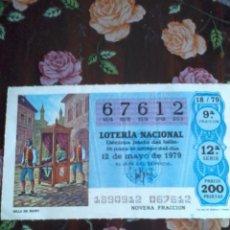 Lotería Nacional: DÉCIMO DE LA LOTERIA NACIONAL 12 DE MAYO DE 1979. Nº 67612 SILLA DE MANO.. Lote 50629889