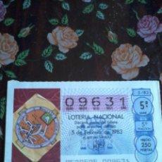 Lotería Nacional: DÉCIMO DE LA LOTERÍA NACIONAL 5 DE FEBRERO 1983. Nº 09631. MOTIVO. MAPA MUNDI ETIMOLOGIAS. Lote 50630071