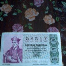 Lotería Nacional: DÉCIMO DE LA LOTERÍA NACIONAL 14 DE MARZO 1981. Nº 58817. MOTIVO JUAN DE LA ENCINA. Lote 50630100