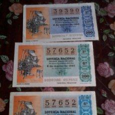 Lotería Nacional: DÉCIMO DE LA LOTERÍA NACIONAL. 3 Nº. 8 DE MARZO DE 1980. Nº 57652 MOTIVO LINOTIPIA DE PERIODICO. Lote 50630127