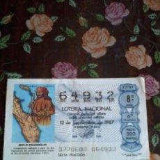 Lotería Nacional: DÉCIMO DE LA LOTERIA NACIONAL 12 DE SEPTIEMBRE 1987. Nº 64932. MOTIVO MAPA DE WALDSSEEMÜLLER.. Lote 50630142