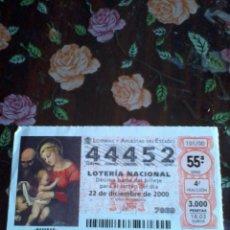Lotería Nacional: DÉCIMO DE LA LOTERÍA NACIONAL 22 DE DICIMBRE DE 2000. Nº 44452. MOTIVO NATIVIDAD. . Lote 50630205