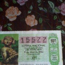 Lotería Nacional: DÉCIMO DE LA LOTERIA NACIONAL. 9 DE JUNIO DE 1984. Nº 15577. MOTIVO. TLALOC DIOS LLUVIA. Lote 50630286