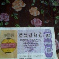 Lotería Nacional: DÉCIMO DE LA LOTERIA NACIONAL 26 DE JULIO 1986. Nº 84357. MOTIVO MAPA DE .... Lote 50630463