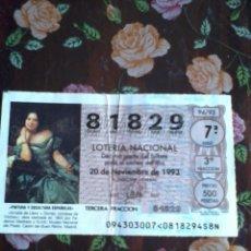Lotería Nacional: DÉCIMO DE LA LOTERIA NACIONAL 20 DE NOVIEMBRE 1993. Nº 81829. PINTURA Y ESCULTUA ESPAÑOLAS.. Lote 50630483