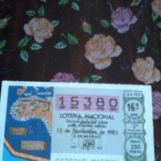 Lotería Nacional: DÉCIMO DE LA LOTERIA NACIONAL 12 DE NOVIEMBRE DE 1983. Nº 15380. MOTIVO MAPA.... Lote 50630505