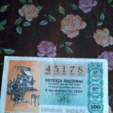 Lotería Nacional: DÉCIMO DE LA LOTERÍA NACIONAL 8 DE MARZO DE 1980. Nº 45178. MOTIVO. LINOTIPIA DE PERIODICO. Lote 50630610