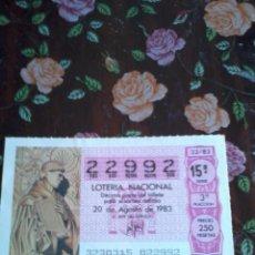 Lotería Nacional: DÉCIMO DE LOTERIA NACIONAL 20 AGOSTO 1983. Nº 22992. MOTIVO FRAY ANTONIO DE MARCHENA. Lote 50630834