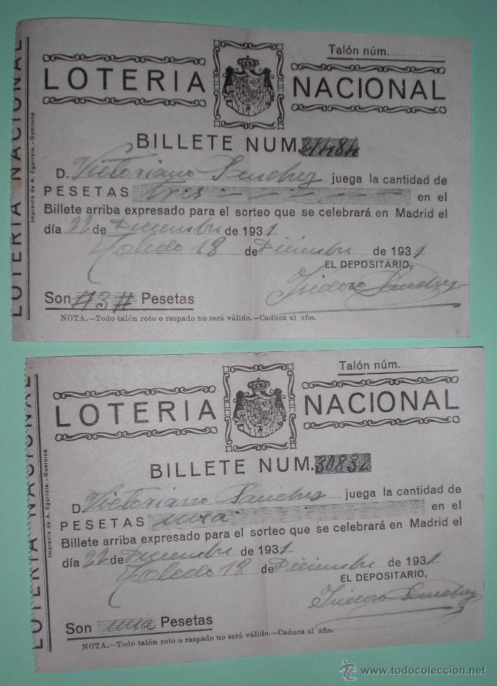 LOTERIA NACIONAL 1931 (Coleccionismo - Lotería Nacional)