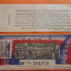 Lotería Nacional: LOTERIA NACIONAL FRANCIA - FEDERATION NATIONALE DES MUTILES 1952 BELLES VILLES. Lote 51045394