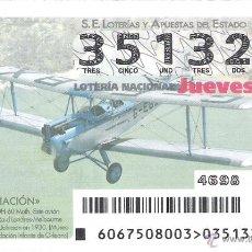 Lotteria Nationale Spagnola: 1 DECIMO LOTERIA DEL JUEVES - 20 AGOSTO 2015 - 67/15 AVIACION - AVIONES - AVION HAVILLAND DH-60 MOTH. Lote 159242014