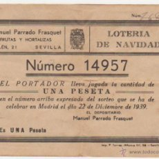Lotería Nacional: PARTICIPACIÓN DE LOTERÍA PARA EL SORTEO NAVIDAD 1939. MANUEL PARRADOS- FRUTERÍA- SEVILLA.. Lote 51078723