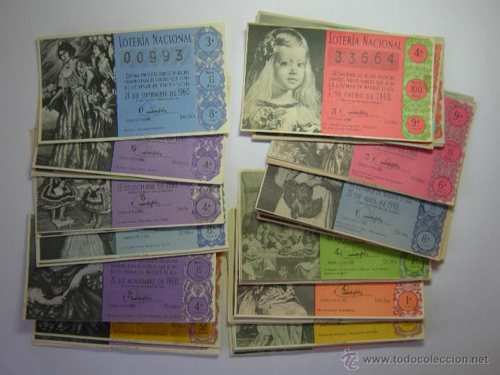 LOTE BILLETES LOTERIA AÑO 1960- 28 DECIMOS (Coleccionismo - Lotería Nacional)