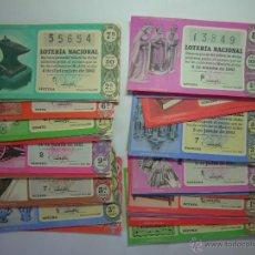 Lotería Nacional: LOTE BILLETES LOTERIA AÑO 1961- 49 DECIMOS. ALGUNOS REPETIDOS. Lote 51130870