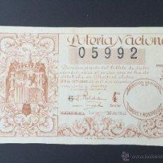 Lotería Nacional: LOTERIA NACIONAL, AÑO 1944 SORTEO 30 ( D - 0133 ). Lote 51234226