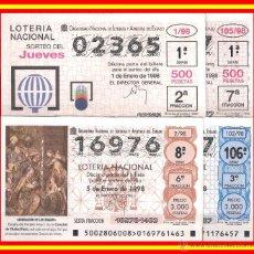 Lotería Nacional: OFERTA 2 AÑOS COMPLETOS LOTERÍA NACIONAL JUEVES Y SÁBADO AÑO 1998. Lote 51453459