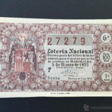 Lotería Nacional: LON1 530707 LOTERIA NACIONAL, AÑO 1953 SORTEO 7. Lote 51523013