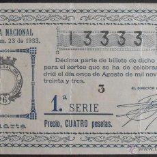 Lotería Nacional: (5603) DECIMO DE LOTERIA NACIONAL,SORTEO 23 DE 1933,CONSERVACION B-,VER FOTOS. Lote 51629947