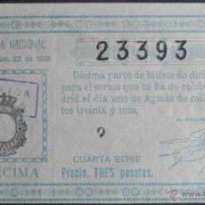 Lotería Nacional: (5645) DECIMO DE LOTERIA, SORTEO 22 DE 1931,CONSERVACION R,VER FOTOS. Lote 51723629