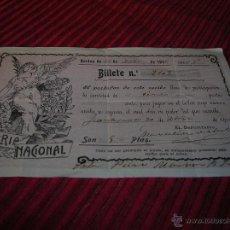 Lotería Nacional: BILLETE LOTERIA NACIONAL FRACCIÓN DE BILLETE AÑO 1916. Lote 52003046