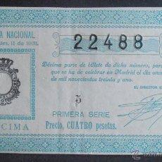 Lotería Nacional: (5722) DECIMO DE LOTERIA, SORTEO 11 DE 1931, CONSERVACION R,VER FOTOS. Lote 52325639