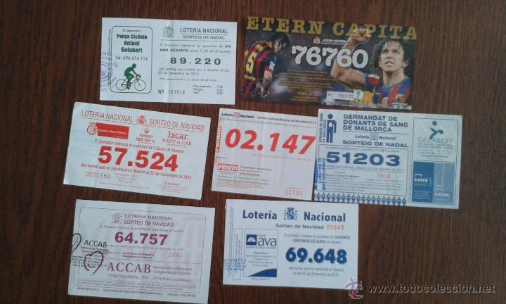 LOTE DE 7 PARTICIPACIONES DE LOTERÍA NACIONAL AÑOS 2013 Y 2014 (Coleccionismo - Lotería Nacional)
