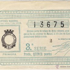 Lotaria Nacional: LOTERIA NACIONAL.- SORTEO Nº 1, DE 2 DE ENERO DE 1936.-. Lote 52482830