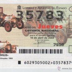 Lotería Nacional: LOTERÍA DEL JUEVES - SORTEO 29/03 - AUTOMÓVILES - MERCEDES BENZ 1903. Lote 52573884