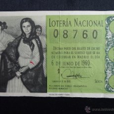 Lotería Nacional: LOTERIA NACIONAL. SORTEO 16 DE 1960 DEL 6 DE JUNIO. Lote 52589592