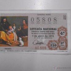 Lotería Nacional: DECIMO LOTERIA NACIONAL. ABRIL 1972. FOTO CUADRO DE MURILLO. SAGRADA FAMILIA DEL PAJARITO. TDKP6. Lote 52706101