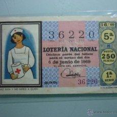 Lotería Nacional: SORTEO CRUZ ROJA DÉCIMO AÑO 69. EL DE LA FOTO.. Lote 52744573
