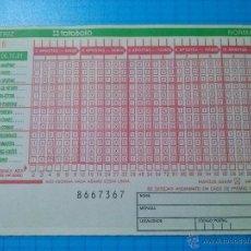 Nationale spanische Lotterie - BOLETO LOTERIA TOTOBOLA PORTUGAL QUINIELA SIN SELLAR 1991 - 52787907