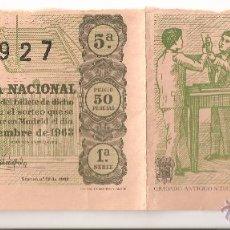 Lotería Nacional: PAREJA SIN CORTAR BILLETES LOTERIA NACIONAL Nº 22927 PRECIO 50 PTAS 5-SEPTIEM-1963 1ª SERIE 5ª Y 10ª. Lote 52847618