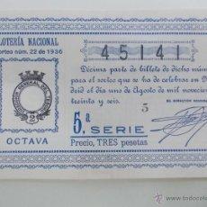 Lotería Nacional: DÉCIMO DE LOTERÍA 1 DE AGOSTO DE 1.936 (NO VENDIDO POR LA GUERRA CIVIL) ÉPOCA REPÚBLICA. Lote 53082389