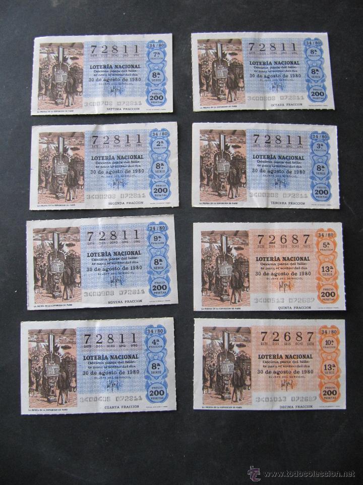 8 DECIMOS DE LOTERIA NACIONAL. 2 NUMEROS. 30 AGOSTO 1980 (Coleccionismo - Lotería Nacional)