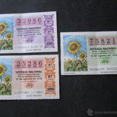 Lotería Nacional: DECIMO LOTERIA NACIONAL. 12 DE AGOSTO 1978. 3 DECIMOS. 3 NUMEROS.. Lote 53345157