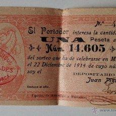 Lotería Nacional: PARTICIPACIÓN SORTEO DE LA LOTERIA NAVIDAD AÑO 1914, UNA PESETA. MALLORCA. Lote 53516268