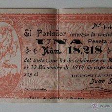 Lotería Nacional: PARTICIPACIÓN SORTEO DE LA LOTERIA NAVIDAD AÑO 1914, UNA PESETA. MALLORCA. Lote 53516277
