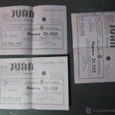 Lotería Nacional: PARTICIPACION LOTERIA NACIONAL.COMESTIBLES JOSE JUAN SEGURA ALBORAYA. 21-12-1946. 3 PARTICIPACIONES. Lote 53773824