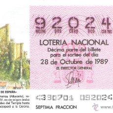 Lotteria Nationale Spagnola: 1 DECIMO LOTERIA DEL SABADO - 28 OCTUBRE 1989 - 43/89 - CASTILLO DE ALMANSA ( ALBACETE ). Lote 54067315