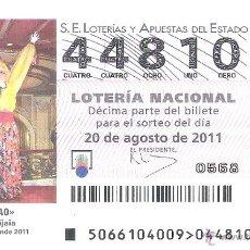 Lotteria Nationale Spagnola: 1 DECIMO LOTERIA DEL SABADO - 20 AGOSTO 2011 - 66/11 - BILBAO - LA MARIJAIA - SEMANA GRANDE. Lote 54154384