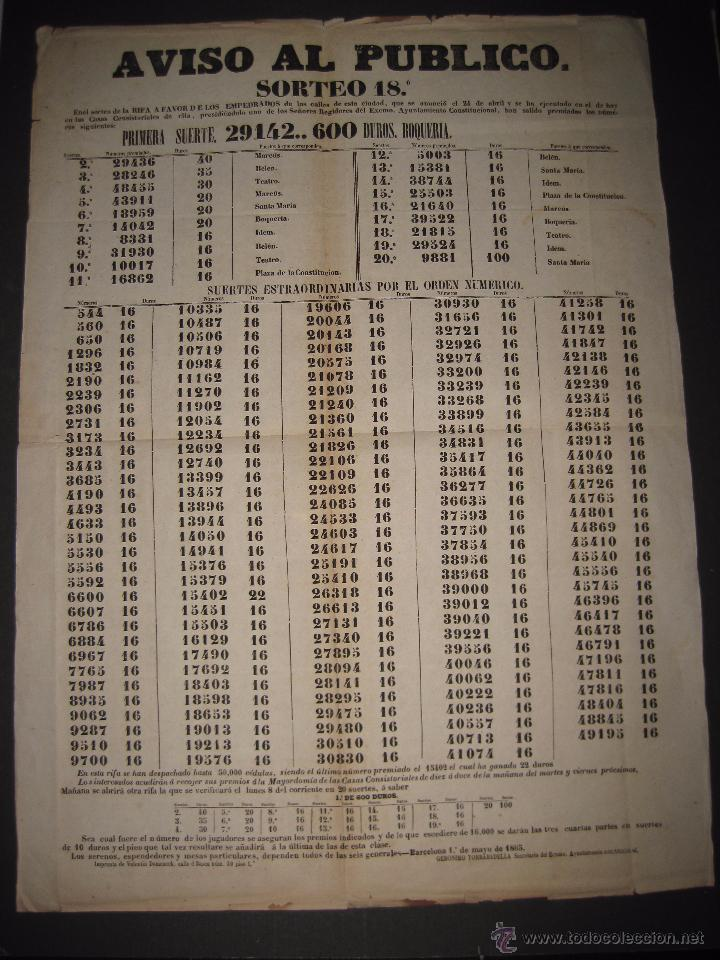 LISTA LOTERIA - AVISO AL PUBLICO -SORTEO 18-AÑO 1865 - ORIGINAL-MIDE 49X 66 CM - VER FOTOS -(V-4246) (Coleccionismo - Lotería Nacional)